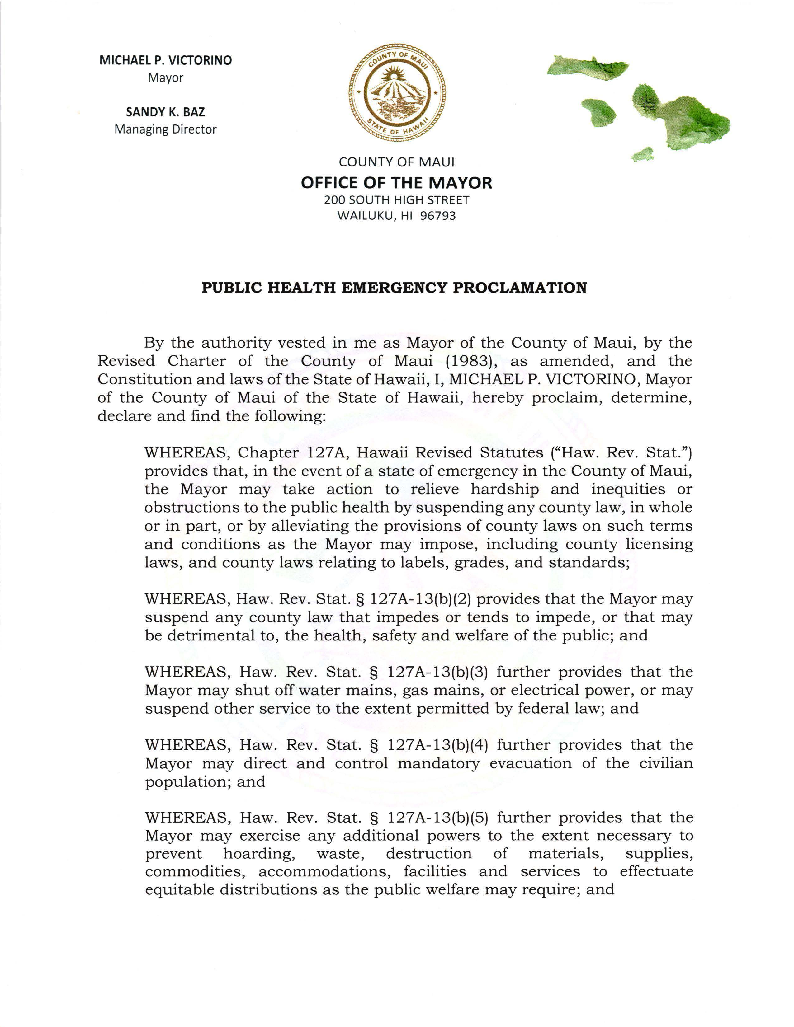 2020-03-04 Public Health Emergency Proclamation