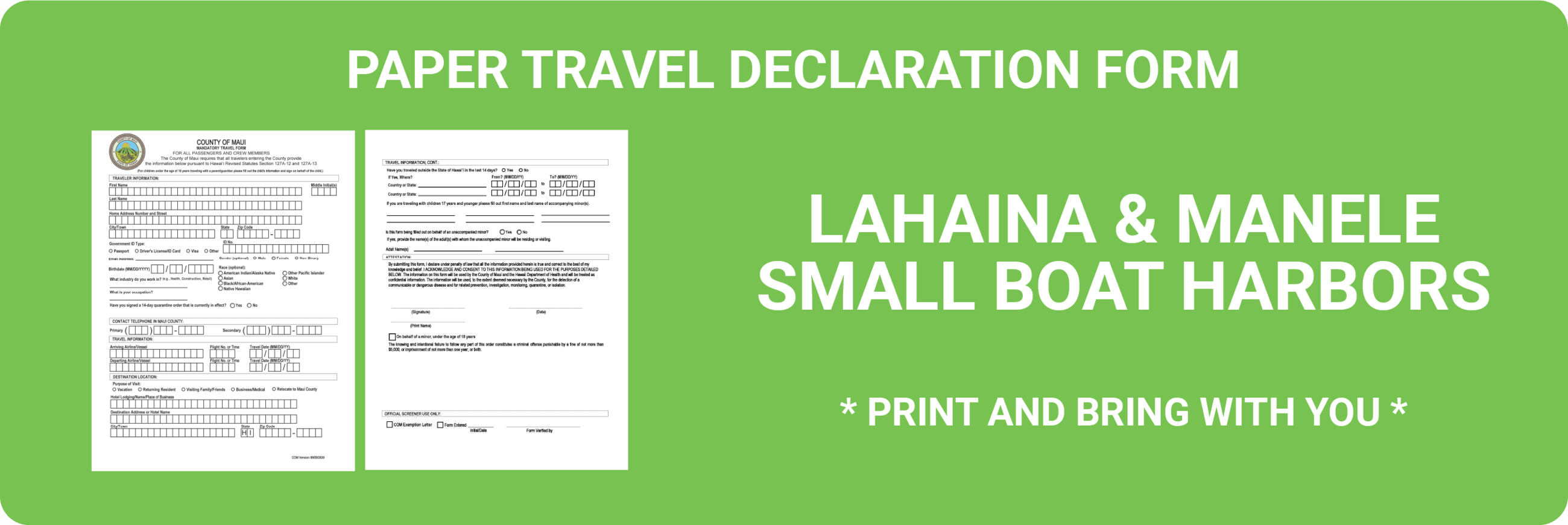 Paper Travel Form