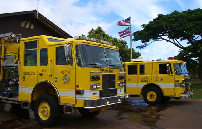 Fire Trucks at Lanai Fire Station