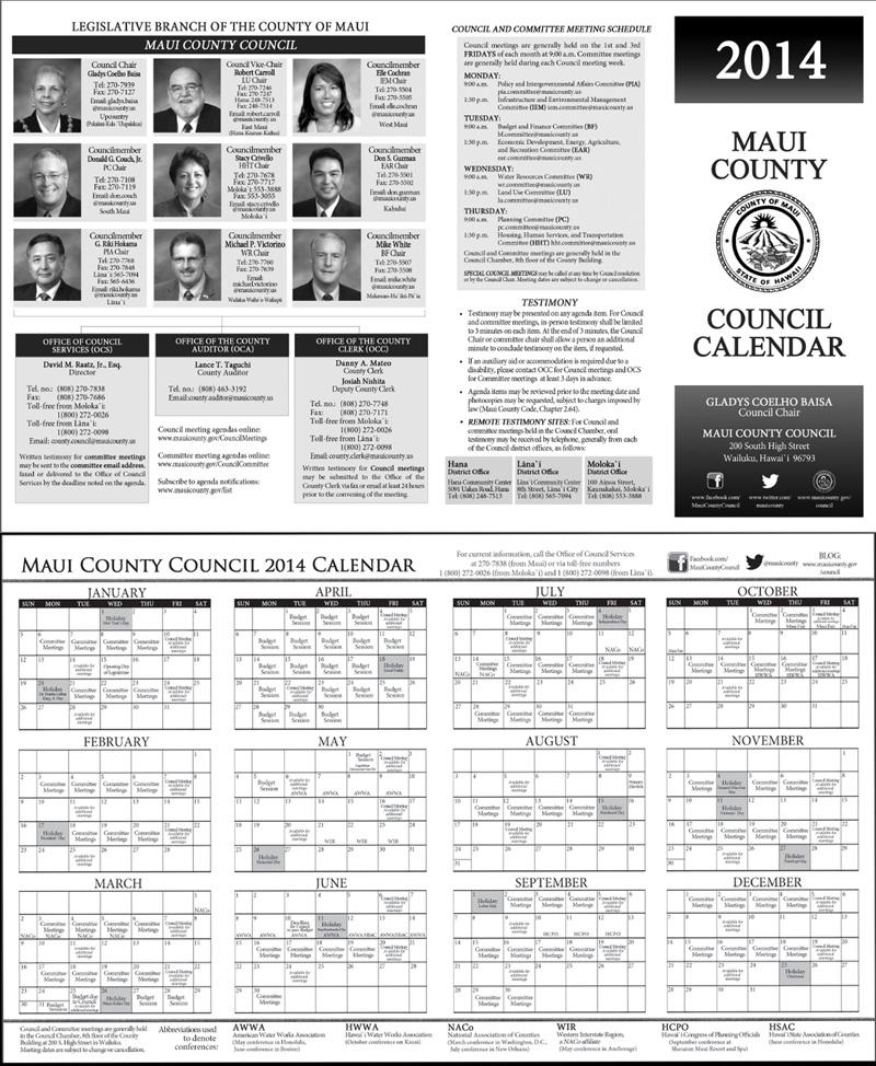 2014 Council Calendar