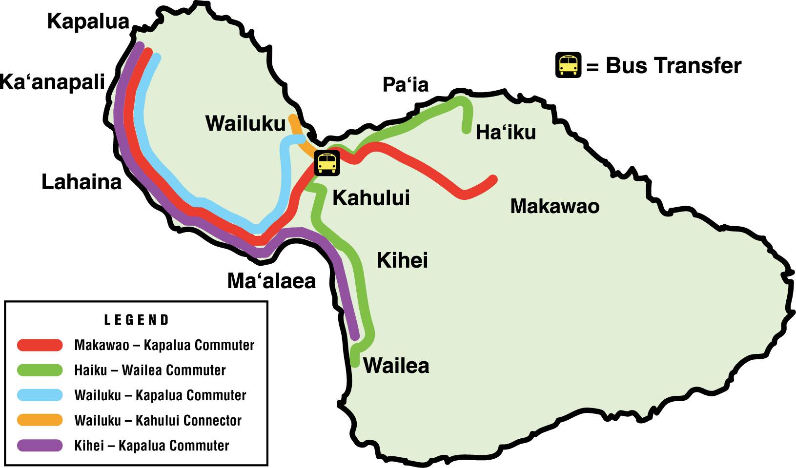 Maui Bus Commuter Service | Maui County, HI - Official Website Wailuku Map